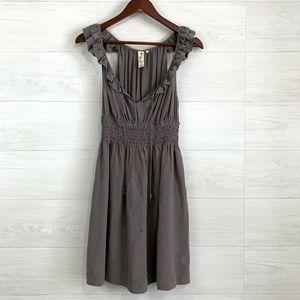 Floreat Anthro Silk Ruffle Tie V Neck Dress